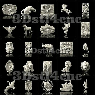 25 3D STL Models Animal Hunting for CNC Router Carving Machine Artcam aspire
