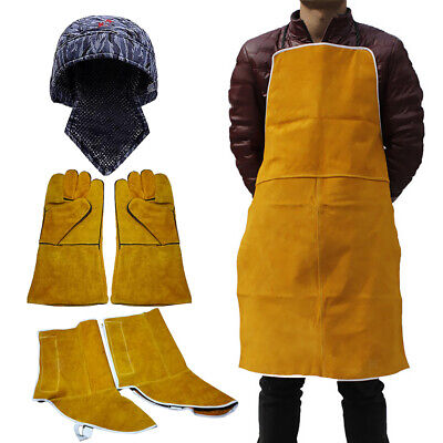 Welder Gloves Welding Protective Gear Leather Apron with Shoe Covers and Cap