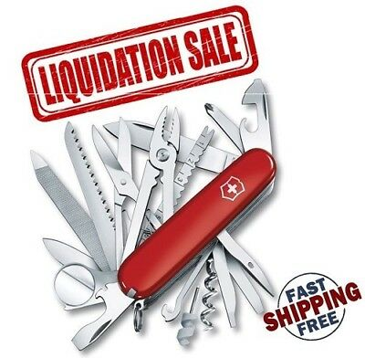 Liquidation Genuine Red Victorinox Swiss Army Champ 34-In-1 Pocket Knife 53501