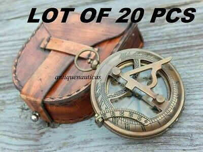 Lot Of 20 Pcs Antique Brass  Sundial Compass With Leather Case
