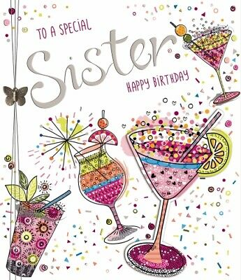 Sister Birthday Card Fizz by Noel Tatt