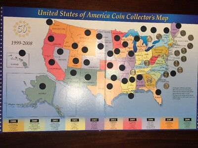 United States 50 Coin Collector's Quarters Map 1999-2008 & 15 Eastern Quarters