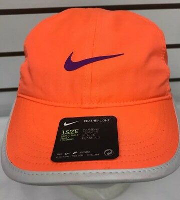 Nike Aerobill Womens Featherlight Tennis Cap Dri-fit Orange Purple Swoosh  Hat 4573631b9090