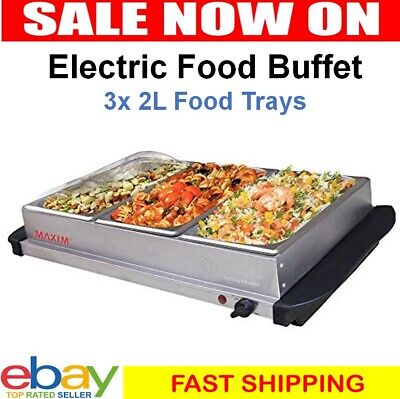 Benchtop Buffet Food Warmer 3 Tray Party Display Server Bain Marie Chafing Dish