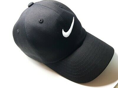 Nike Heritage86 Swoosh Adjustable Baseball Cap Hat White Black