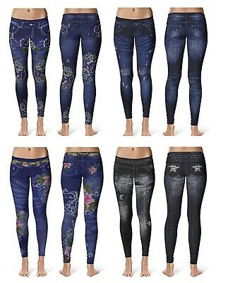 Womens Stretchy Denim Print Jeans Ripped Skinny Jeggings Pants Legging Trousers