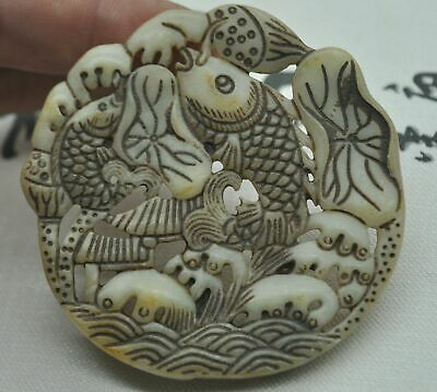 Chinese ancient old hard jade hand-carved pendant necklace ~Lotus leaf fish