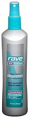 6 Pack Rave 4X Mega Hairspray With Clima Shield Unscented 11Oz Each