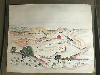"""Rare Theodore Wahl (1903 - 1990) """"New Mexico Hills"""" Watercolor Painting -Signed"""