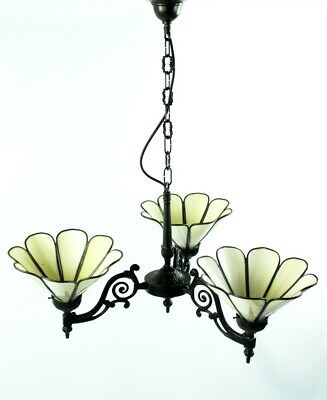 Antique Victorian 3 arm chandelier with Tiffany shades - FREE Shipping  [PL4951]
