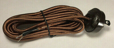 New 10 ft. Brown Rayon Lamp Cord Set with Antique Style Acorn Plug  #CS860