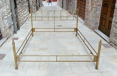 Mid century Sculptural Solid Brass & Onyx King bed Hollywood Regency italy 60s