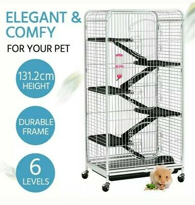 52'' 6 Level Large Rat Cage Chinchilla Squirrel House Pet Safety Home UK SELLER