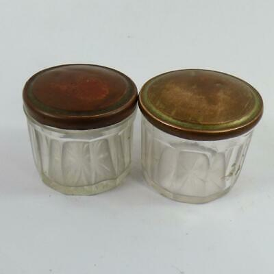ANTIQUE  PAIR of GLASS LIDDED INKWELLS / CONTAINERS - VINTAGE