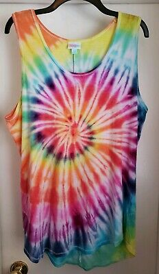 4974da1508d2c CUSTOM TIE DYE LuLaRoe Tank Top 2XL RAINBOW Spiral    ONE OF A KIND ...