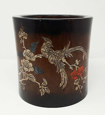 A Mother-Of-Pearl-Inlaid Large Old Chinese Huanghuali Brush Pot