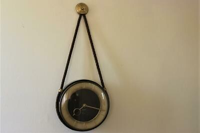 A Vintage German 8 Day Wall Hanging Clock Key Wound On Rope Support