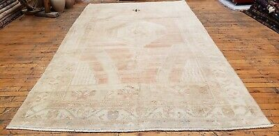 """Beautiful Late 1930's  4'8""""×8'3"""" Muted Natural Dye,Wool Pile,Cross Patterned Rug"""