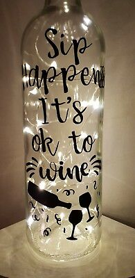 Sip Happens Its Ok To Wine Gift Friends Birthday Led Light Up Bottle Gift boxed