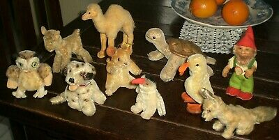 BIG LOT of STEIFF ANIMALS – 9 ANIMALS AND 1 GNOME OLD