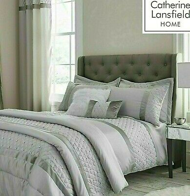 Catherine Lansfield Sequin Cluster Quilt Cover Luxury Silver Grey Bedding Set