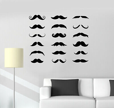 Vinyl Wall Decal Mustache Barbershop Scissors Shave Logo Salon Stickers (g159)