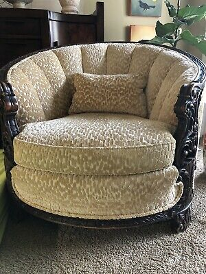 Walnut English Living Room Chair Antique 1920's Newly Upholstered & Restored.