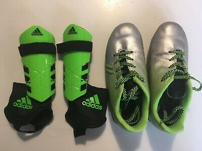 best sneakers 04867 407f8 Dicks Sporting Goods Green Soccer Cleats Kids 12K with Adidas Shin Guards