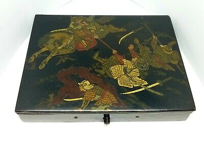 Antique Paper Mache Chinese Sectioned Sewing Jewelry Storage Battle Scene Box