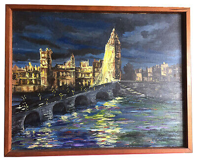 VINTAGE Mid Century Modernist Painting Signed MOSER Bridge and Tower of London