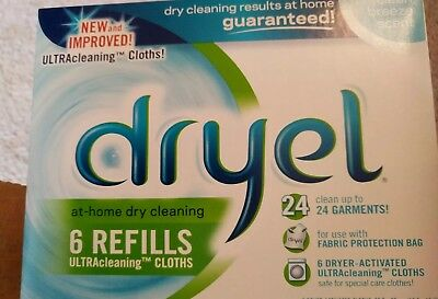 DRYEL AT HOME DRY CLEANING REFILL 6 Cloths NEW SEALED Discontinued