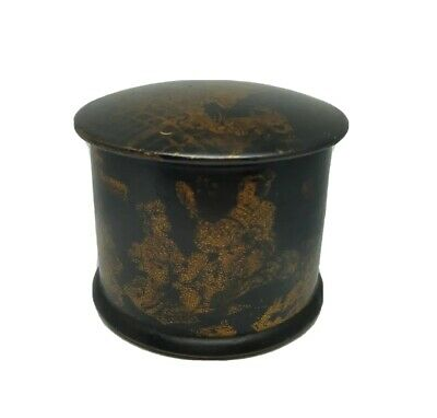 Antique Japanesed Chinoiserie Chinese Black Paper Mache Makeup Powder Box Caddy