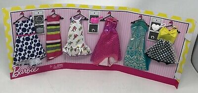 2018 BARBIE DOLL Fashion Closet Pack 6 Dresses & Accessories Lot New! Sealed!
