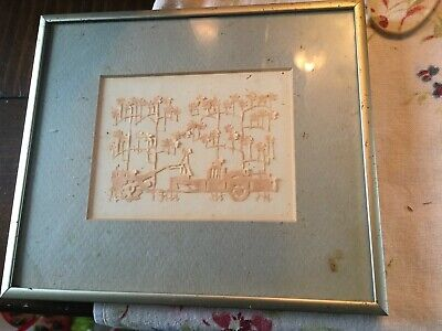 """Paper Cut-Out Silhouette of a TRACTOR & WAGON-- Folk Art- 7 1/2 X 6 1/2 """""""
