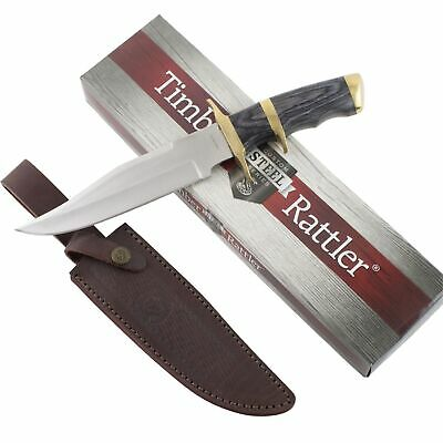 Timber Rattler Buffalo Joe Bowie Knife & Sheath Hunting Skinning Pakkawood Handl