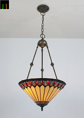 Artwork JT Tiffany Stained Glass Inverted Diamond Style Pendant Light Home decor
