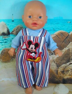 "Dolls clothes for 13"" My Little Baby Born Doll~MICKEY MOUSE STRIPE OVERALLS~TOP"