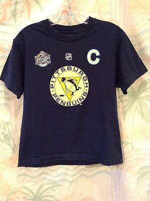 Reebok Sidney Crosby Pittsburgh Penguins Kids T-Shirt Youth Size M Blue  87  NHL 5f8710080