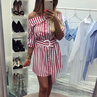 Womens Holiday Off Shoulder Belt Mini Dress    Ladies Summer Striped Blouse Tops