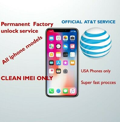 AT&T FACTORY UNLOCK CODE SERVICE IMEI AT&T IPHONE X 8 7 Plus 6 6+ 6S 5 4 SE FAST
