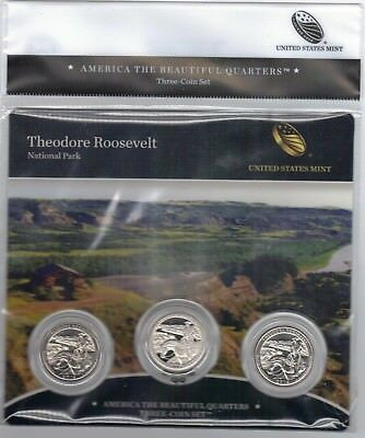 BU sealed 2016 Theodore Roosevelt PDS ATB 3-coin set National Parks US Mint