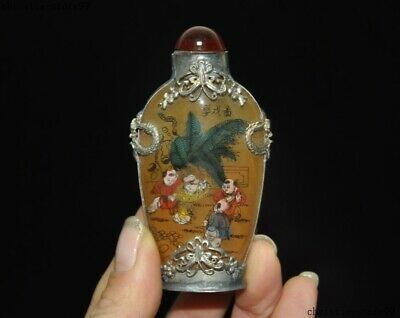 Old China Tibetan silver Inlay glass glaze Painted Boy Child Statue snuff bottle