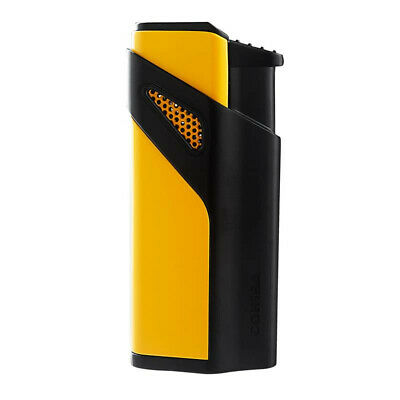 COHIBA Metal Cigar Lighters Triple Torch Jet Flame W/Punch Cutter Black Yellow