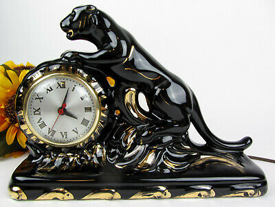 Vintage 1950's Ceramic Black Panther * Sessions Electric Mantle Clock * Working