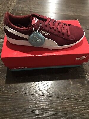 a16394454b074f PUMA VIKKY Vicky SOFT FOAM SUEDE WOMEN S SNEAKERS POMEGRANATE- WHITE US 8  NEW