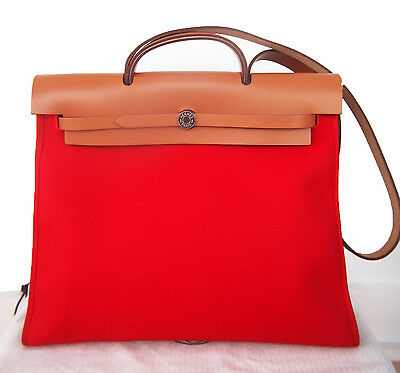 f06abd979d Authentic HERMES Herbag Zip Canvas Rouge Tomato RED 39cm PM Kelly Lock bag