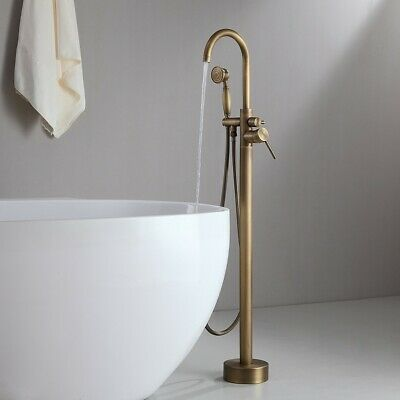 Classic Antique Brass Swivel Spout Filler Free Standing Tub Faucet & Handshower