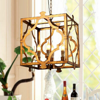 4-Light Square Open Metal Cage Lantern Suspended Lamp Chandelier in Antique Gold