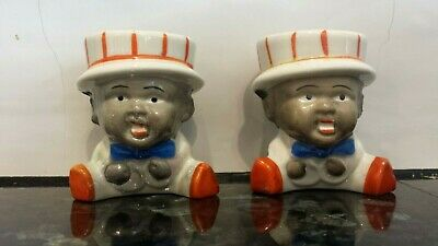 Vintage Black Americana figural egg cup 2 matching made in Japan Kitsch Cute