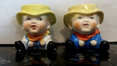 Vintage cowboy figural egg cups a pair made in Japan Kitsch collectable